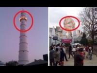Collasso della storica torre di Kathmandu dopo il sisma: il prima ed il dopo
