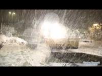 Danimarca, la nevicata in notturna