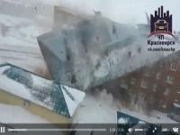 Dudinka, Russia, il vento porta via il tetto di un palazzo di 5 piani!