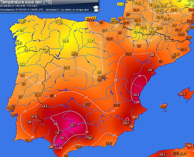 Cartina Meteo Spagna.Spagna Ritorna A Fare Caldo Con Punte Over 30 Meteogiornale It