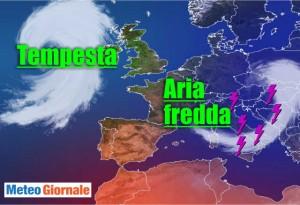 immagine news meteo con temperatura in forte diminuzione con burrasca