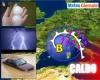 METEO per oggi, molti TEMPORALI anche con GRANDINE, rischio nubifragi, CALDO al Sud