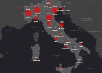 coronavirus mappa 25 03 2020 350x250 - Protezione Civile, situazione odierna Coronavirus – Covid 19