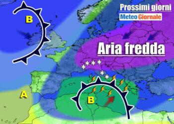 meteo prossimi giorni con maltempo diffuso e freddo 350x250 - Meteo Italia: dopo il weekend irrompe il VERO INVERNO. NEVE fino in pianura