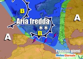 meteo prossimi giorni perturbazione aria fredda 350x250 - Meteo Italia: nuova Perturbazione Domani, poi ANTICICLONE: durata