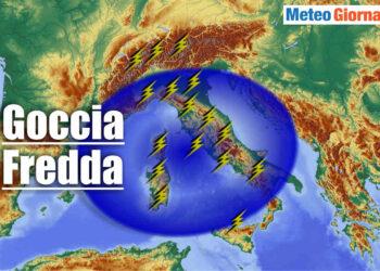 goccia fredda con temporali su italia 350x250 - Bombe meteo: temporali cattivissimi in azione. Evoluzione ITALIA