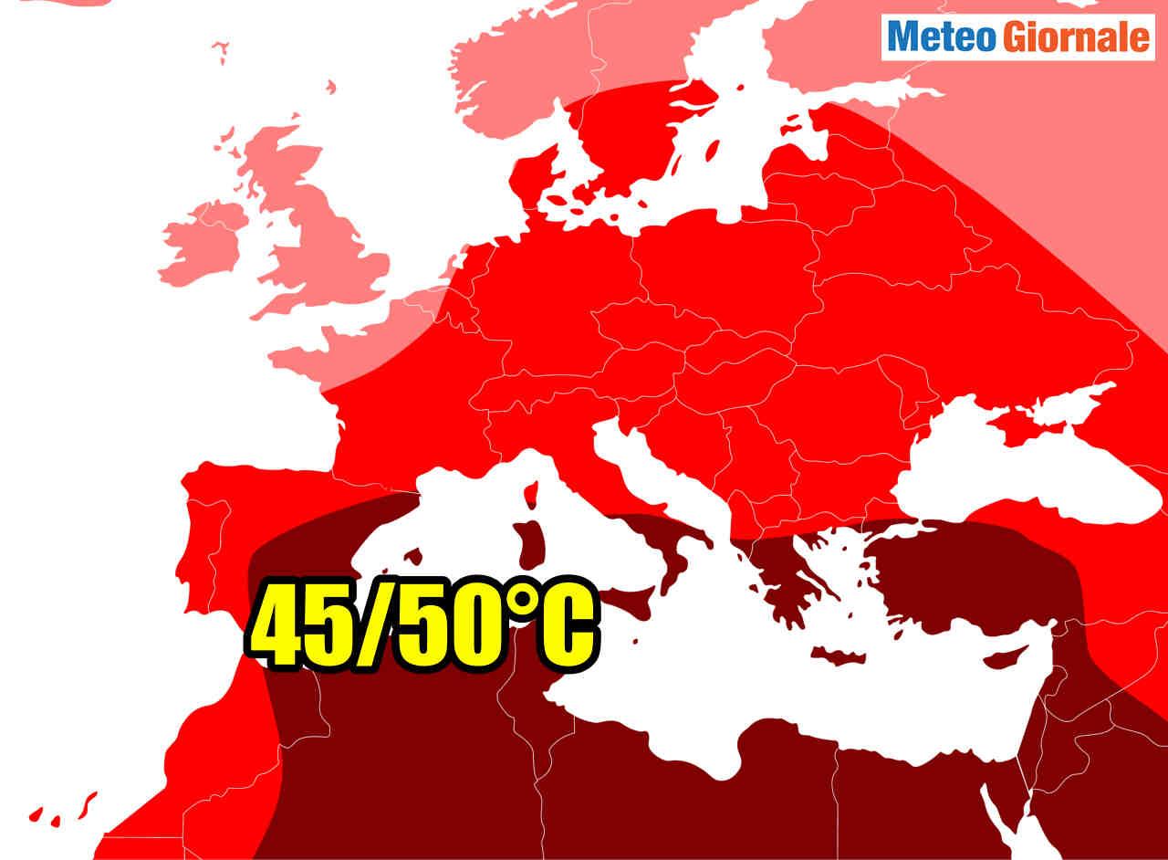 meteo italia a 50 gradi temperatura - Meteo ESTATE 2020, Italia candidata ai 50°C in Europa. Vediamo dove