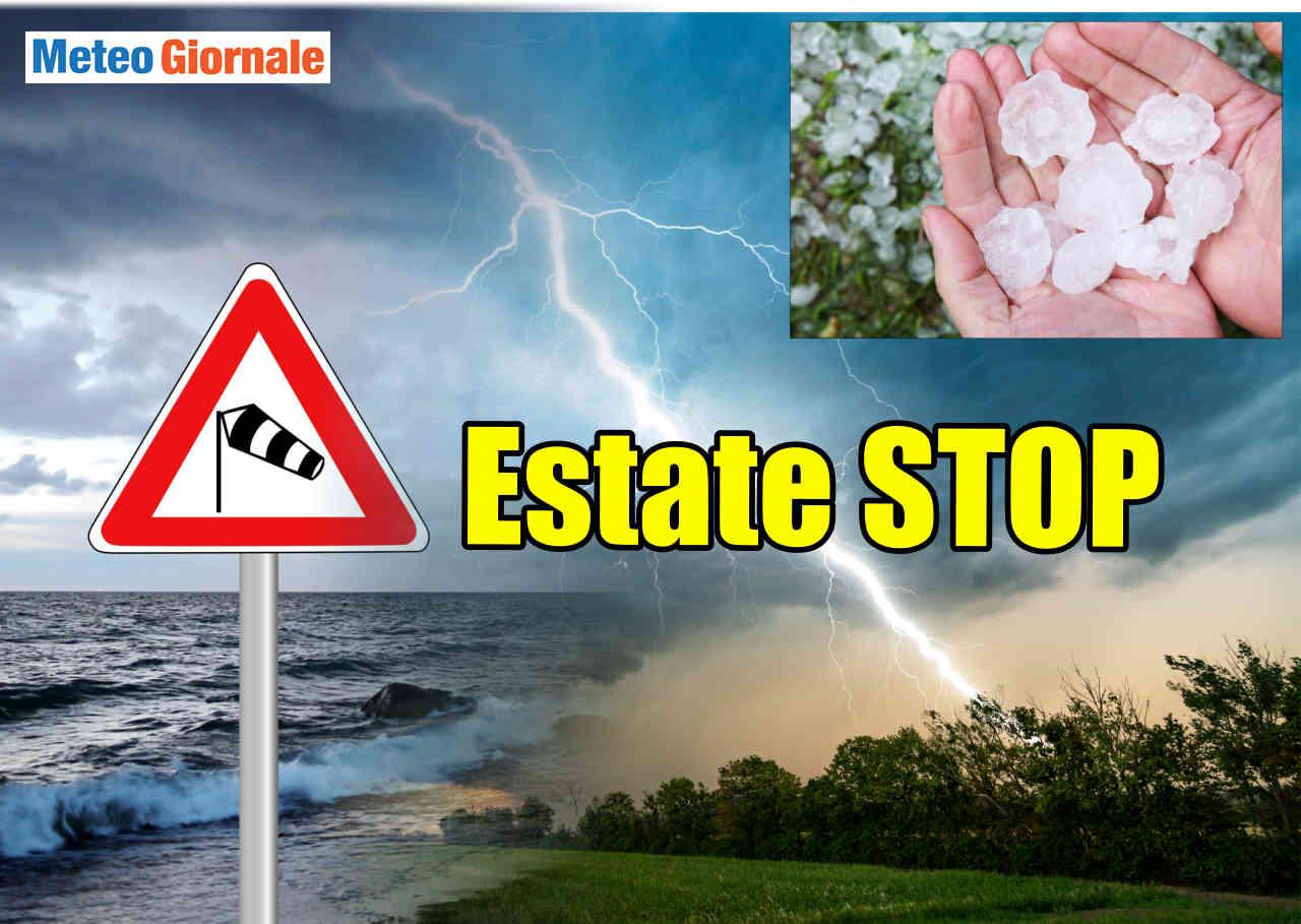 estate stop per forte area di bassa pressione con meteo avverso - STOP il meteo d'Estate, forte CICLONE da Oceano verso Italia. MALTEMPO