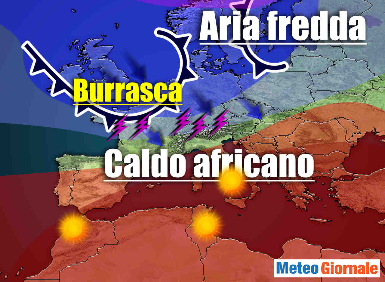 alta pressione africa con incombente burrasca estiva - Meteo subito eccessivo CALDO d'Africa con TEMPORALI improvvisi