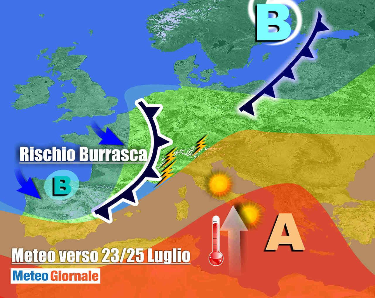 burrasca 1 - Meteo fine Luglio: nuove BURRASCHE ESTIVE, con forti temporali, grandine