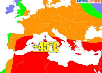 meteo con ondata di calore africano su italia sino 45 gradi 350x250 - La BURRASCA perfetta nei primi di Luglio. Lo dice anche il Centro Meteo europeo