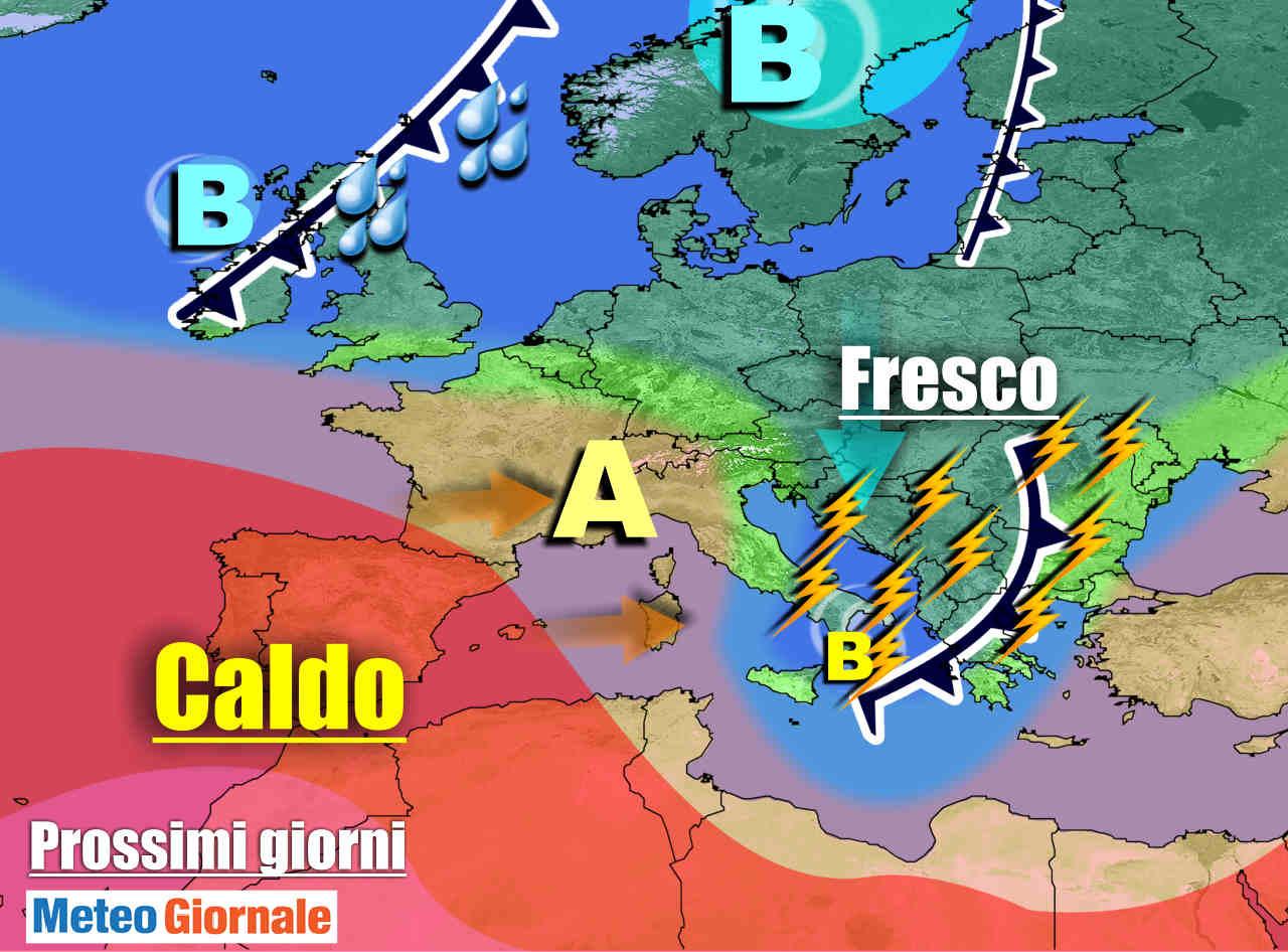 meteogiornale 7 g 2 - METEO sino 9 Luglio: vortice ciclonico su ITALIA. Violenti TEMPORALI verso il Centro-Sud