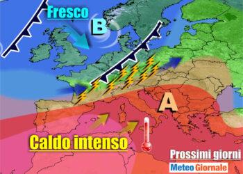 meteogiornale 7 g 29 350x250 - METEO sino 10 Luglio:  Temporali Sud, poi torna il CALDO Anticiclone d'Africa