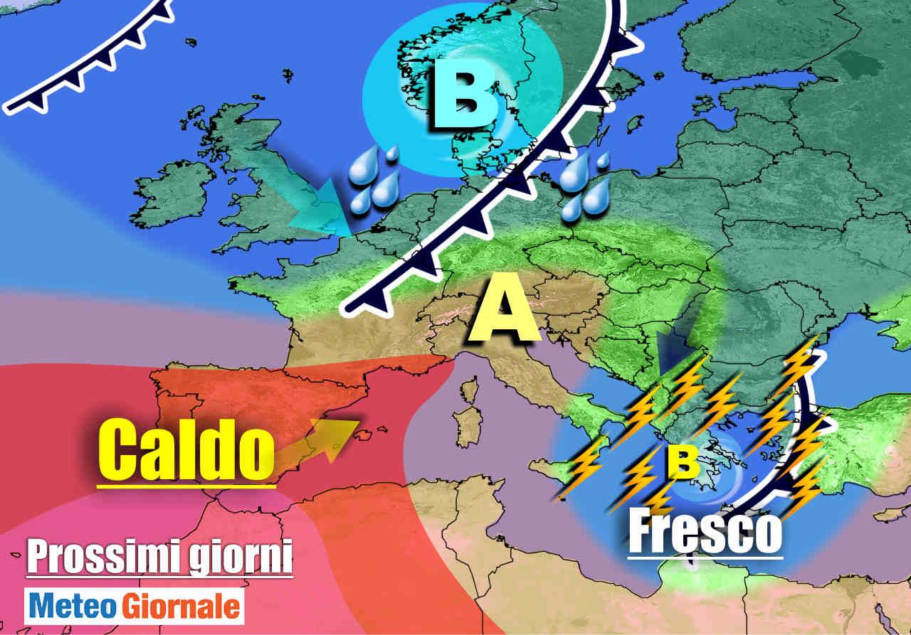 meteogiornale 7 g 3 - METEO sino 10 Luglio:  Temporali Sud, poi torna il CALDO Anticiclone d'Africa