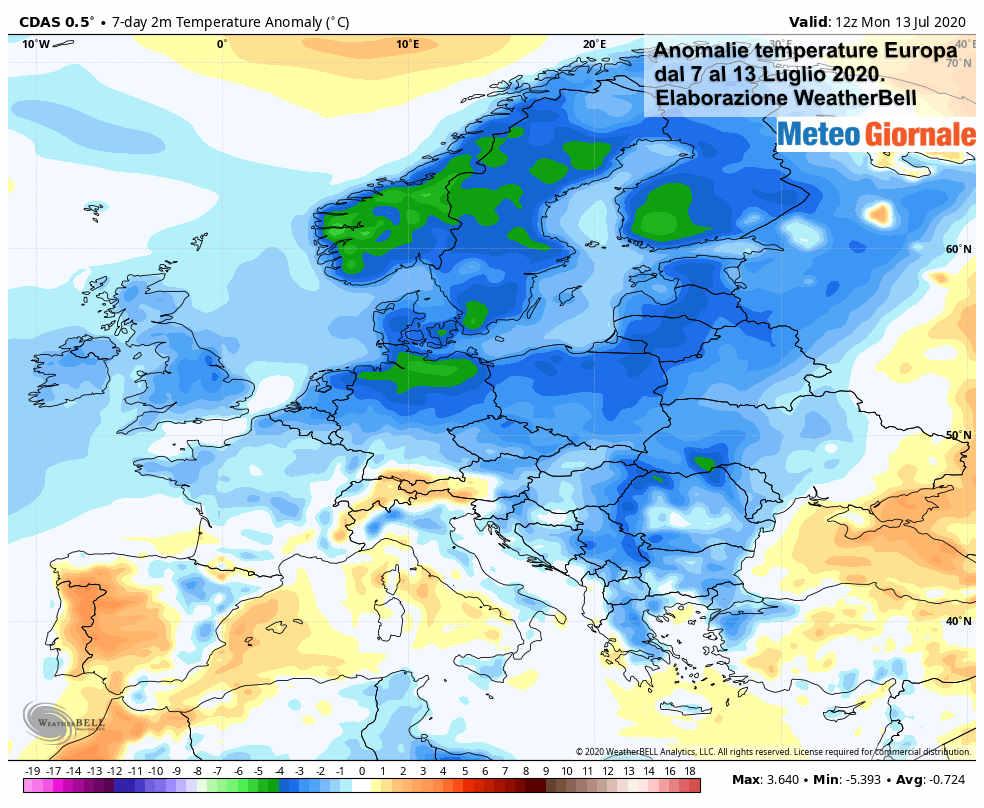 nomaly 1 - Clima Luglio: clamorose anomalie METEO, l'ESTATE arranca in mezza Europa