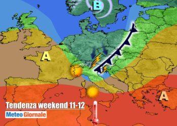 weekend 2 350x250 - Sconquasso meteo imponente: POTENTI TEMPORALI scalzeranno la bolla africana