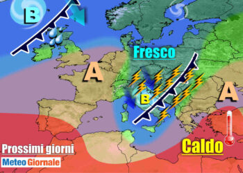 meteogiornale 7 g 3 350x250 - TEMPORALI e brusco CALO TERMICO dilagano sull'Italia, l'ESTATE si FERMA
