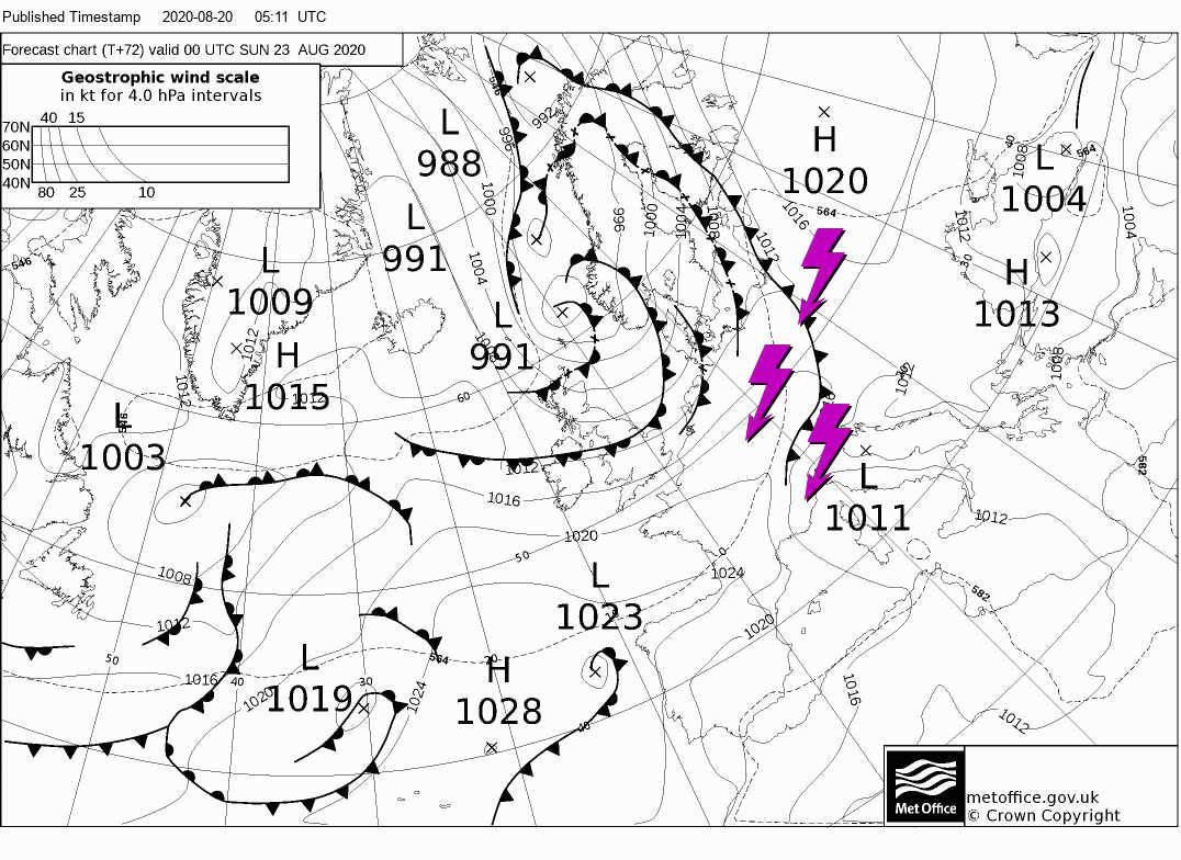 temporali domenica 23 agosto - CALDO Rovente su Italia per Ciclone sulle Isole Britanniche. Conseguenze