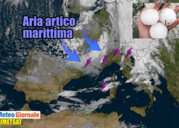 aria artico marittimo in discesa su italia 350x250 - Diretta meteo: aria polare fa rotta sull'Italia. Forte peggioramento prossime ore