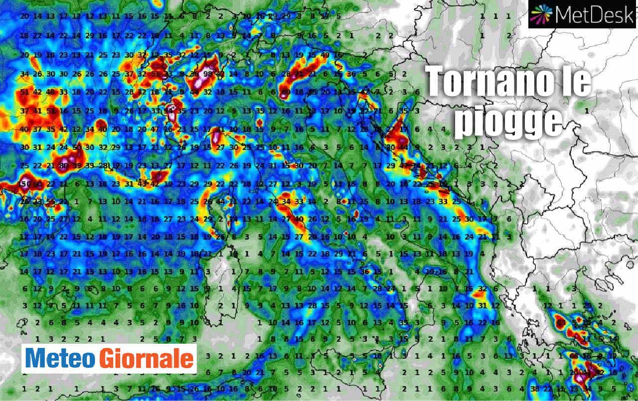 piogge settimanali - Tornano le PIOGGE: meteo autunnale alle porte