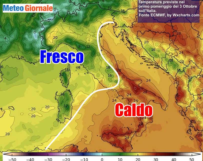 sbalzo - Torna il caldo d'ottobre. Temperature anche sopra i 30 gradi, vediamo dove