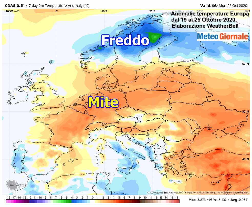 anomalie temperature europa - Focus Clima Europa, ottobre con nuovi sbalzi meteo estremi