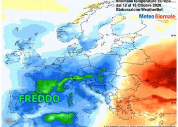 Andamento della temperatura media dell'ultima settimana in Europa