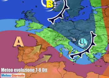 Evoluzione meteo mercoledì 7 Ottobre, con il fronte in transito sull'Italia