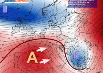 Analisi odierna che mostra l'anticiclone mite avanzare sull'Italia.