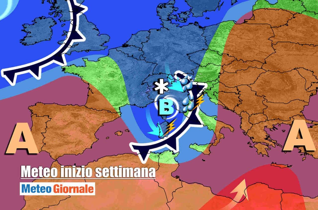 meteo lunedi - FORTE PERTURBAZIONE sull'Italia. Nuovo MALTEMPO, con piogge e temporali
