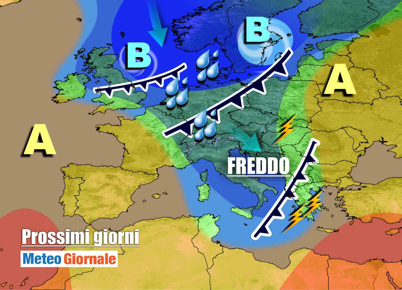 meteogiornale 7 g 11 - METEO prossimi giorni: PIOGGIA e NEVE. Vortice ciclonico freddo sull'Italia