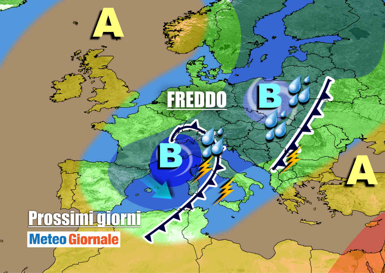 meteogiornale 7 g 13 - METEO Italia: irrompe nuovo CICLONE FREDDO. Pioggia e neve sino al weekend