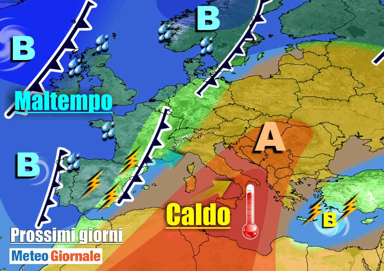 meteogiornale 7 g 23 - METEO 7 Giorni. PERTURBAZIONE nel weekend: piogge, temporali, calo termico