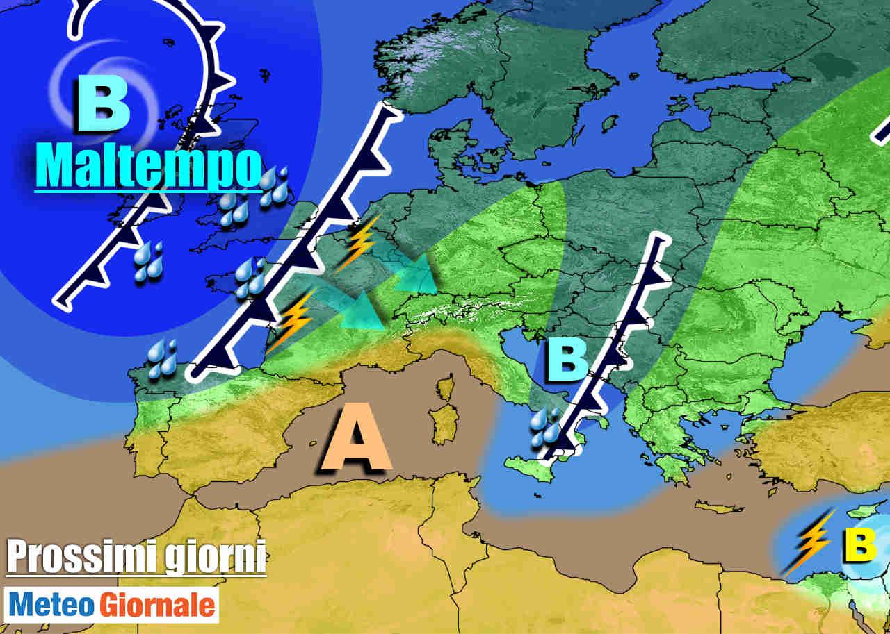 meteogiornale 7 g 25 - METEO 7 Giorni. Riecco l'AUTUNNO, perturbazioni all'assalto dell'Italia
