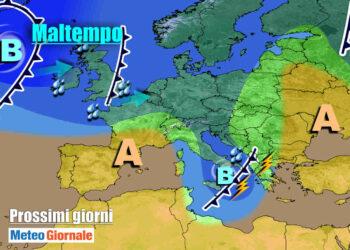 Maltempo si sposta verso il Sud Italia