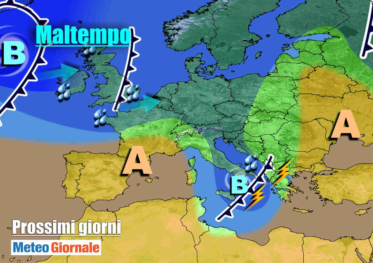 meteogiornale 7 g 28 - METEO fino ad Ognissanti. Dal MALTEMPO con PIOGGIA e NEVE all'Anticiclone
