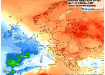 Andamento termico rispetto alla norma in quest'inizio ottobre