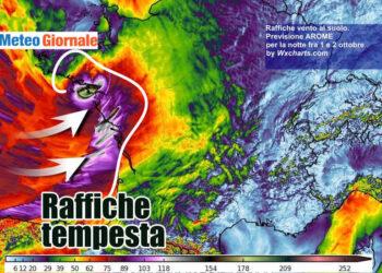 raffiche 350x250 - Burrasca di vento nel weekend, raffiche oltre 100 orari e super mareggiate