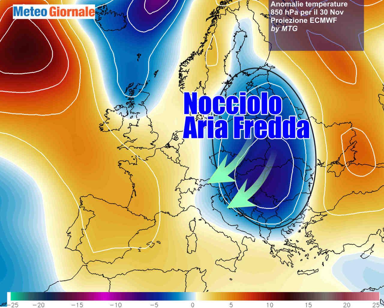 30nov vortice freddo - NOCCIOLO d'Aria Fredda, meteo invernale in arrivo con NEVE FORTE a bassa quota