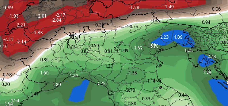 anomalia precipitazioni - ITALIA niente sci, attesa molta NEVE. Invece scarsa su Svizzera e Austria