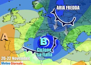 Il ciclone sull'Italia tra venerdì e sabato, alimentato da aria polare