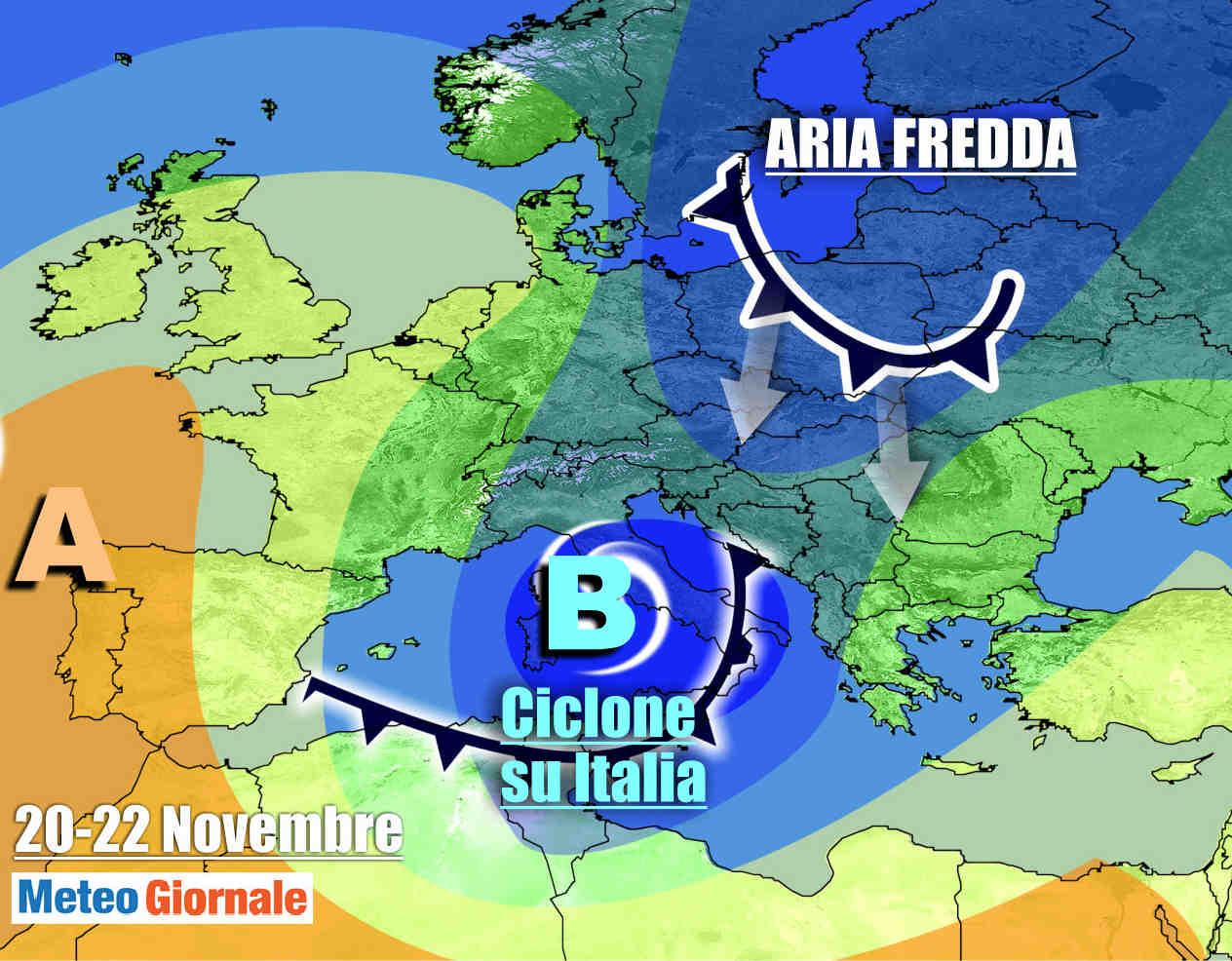 ciclone weekend - METEO da super ribaltone: piomba l'inverno nel weekend, MALTEMPO con NEVE
