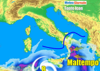 Persiste la lacuna ciclonica sui mari meridionali con maltempo