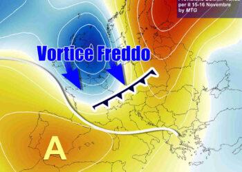 Evoluzione meteo fra domenica 15 e lunedì 16 novembre