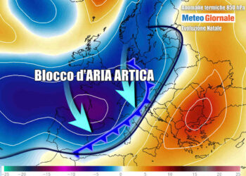 L'aria fredda che arriverà sull'Italia per Natale, sulla base delle anomalie termiche a 1500 metri di quota