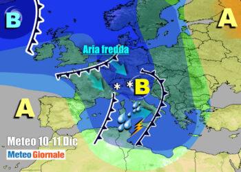 Canale di bassa pressione dal Nord Atlantico al Mediterraneo
