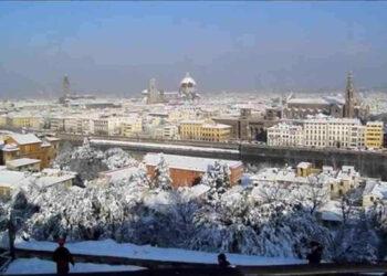 Firenze il giorno dopo la grande neve del 17 dicembre 2010, con oltre 20 centimetri in città