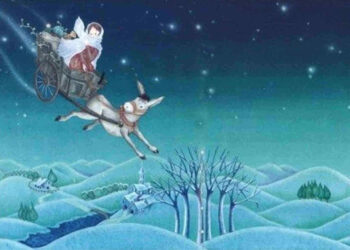 Santa Lucia rappresentata in volo con il suo asinello