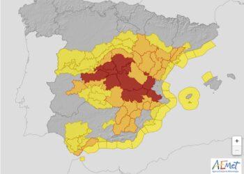 Allerta meteo sino a rossa in Spagna, emesso da aemet.es (servizio meteo nazionale).