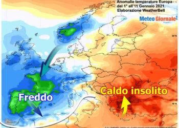Le anomalie termiche al suolo registrate nella prima decade di Gennaio